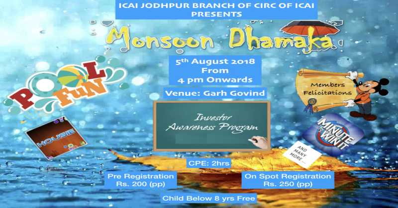 ICAI Jodhpur Branch Invites Members for Family Meet and Investor Awareness Event