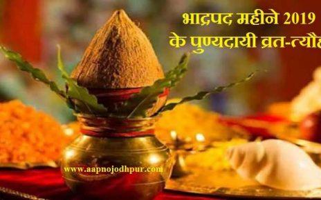 भादों महीने के व्रत-त्यौहार। Hindu Festivals in Bhadrapad 2019 Month. The Bhado month, devoted to Lord Vishnu is the sixth month in the Hindu Panchang. yehमहीना भादौ, भादवा के नाम से भी जाना जाता है. इस बार yeh 16 अगस्त से 14 सितम्बर तक रहेगा।भाद्रपद सावन माह के बाद और आश्विन माह से पहले आता है।